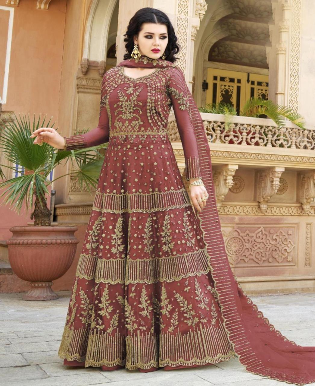 Embroidered Net Maroon Abaya Salwar