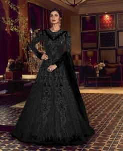 Sequins Silk Abaya Style Salwar in Black