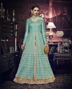 HandWorked Silk Abaya Style Salwar in Blue