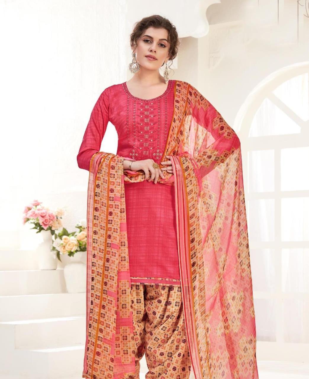 Thread Cotton Patiyala Suit Salwar in Pink