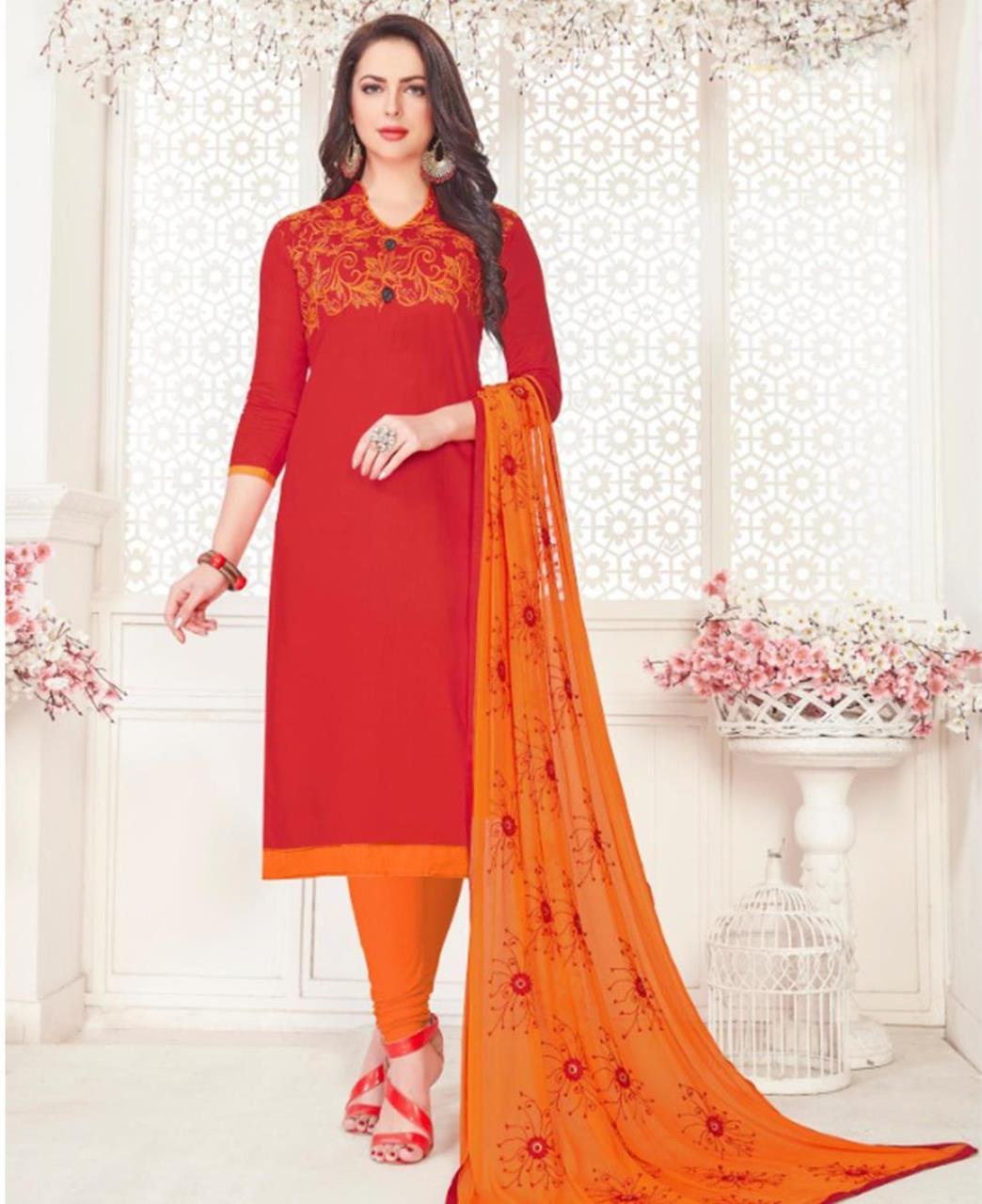 Embroidered Cotton Satin Red Straight Cut Salwar Kameez