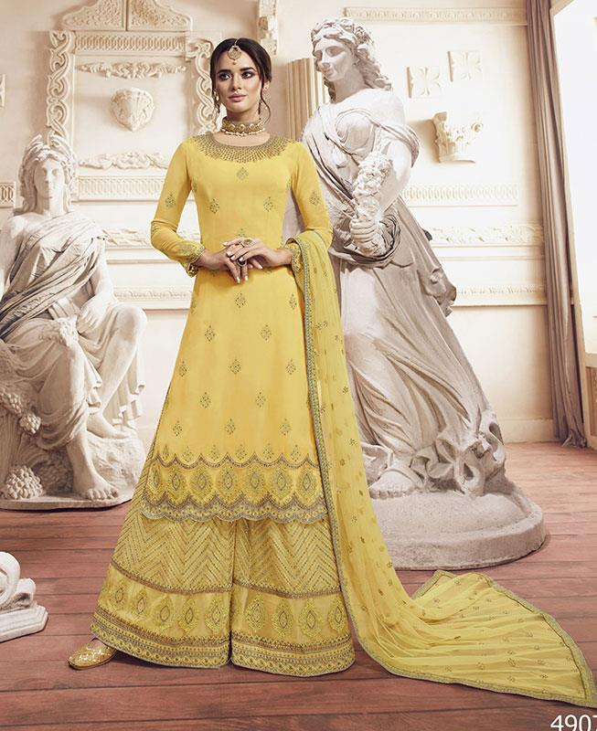 Embroidered Georgette Yellow Palazzo Suit Salwar