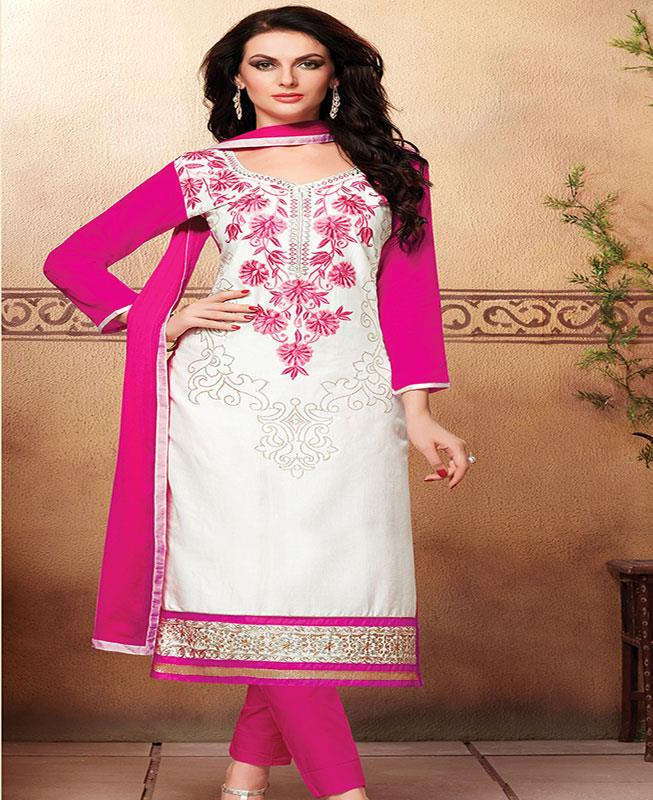 Embroidered Cotton White Straight cut Salwar Kameez