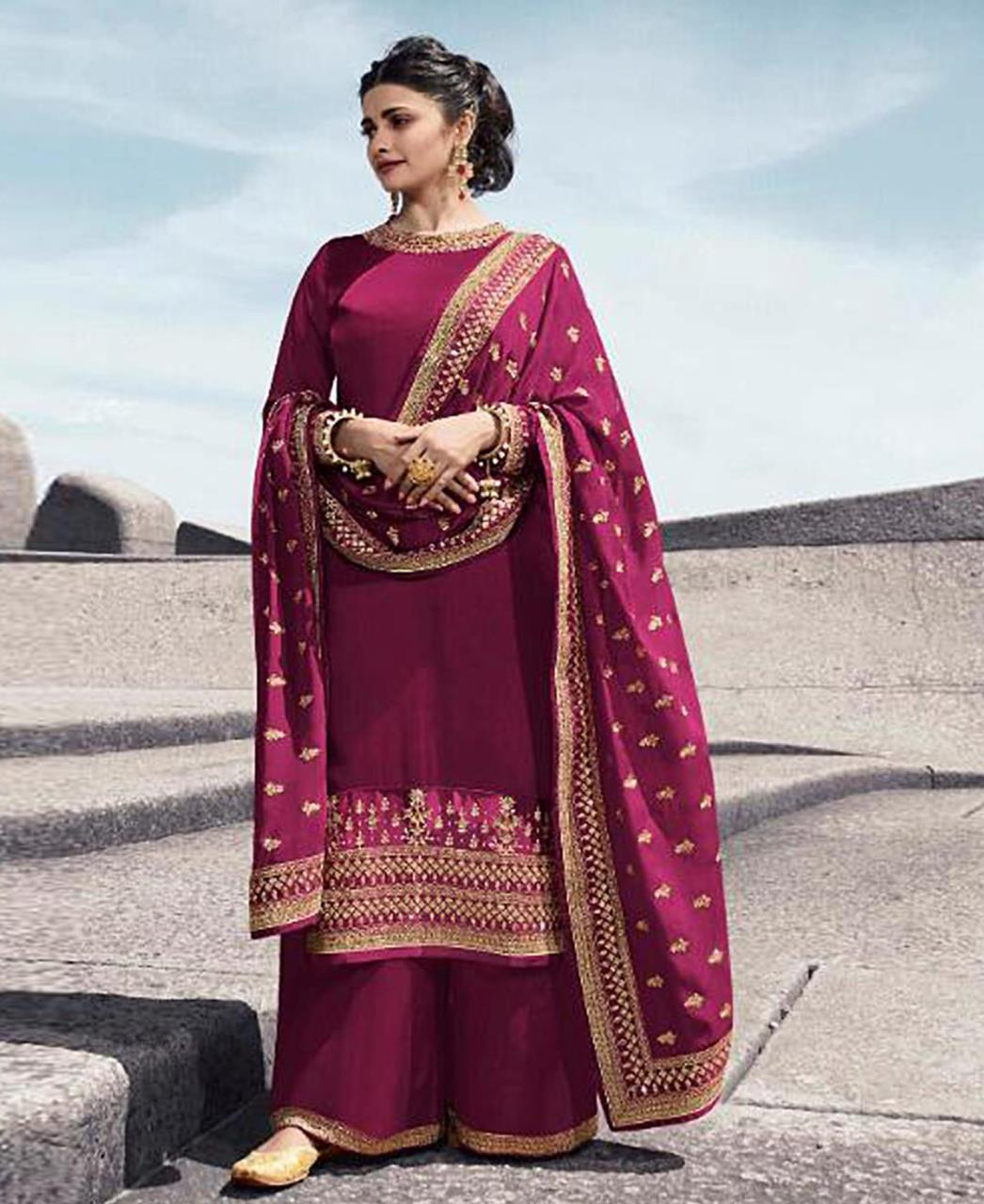 Georgette Straight cut Salwar Kameez in Pink