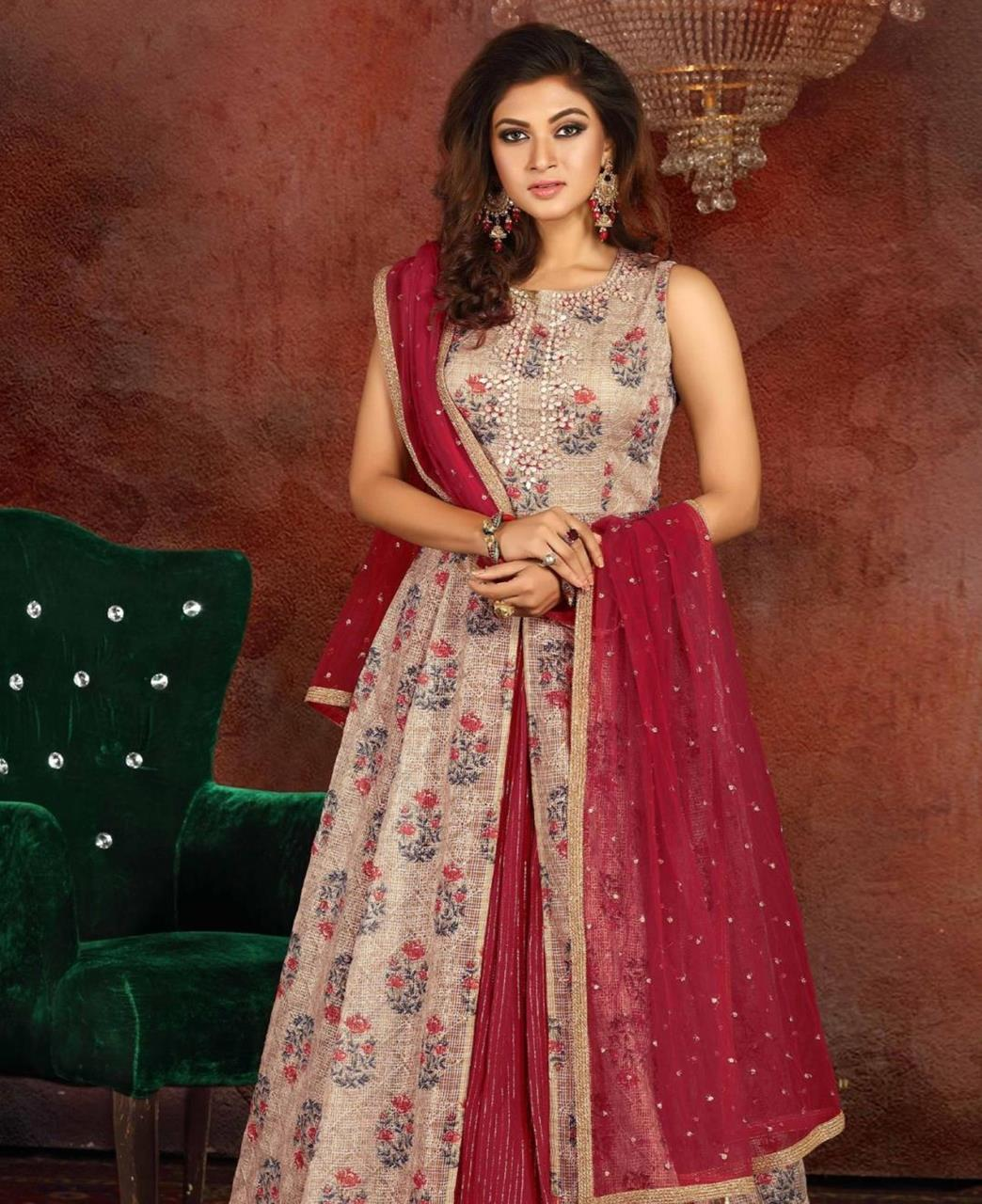 Cotton Straight cut Salwar Kameez in Brown
