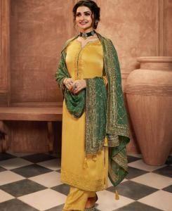 Zari Georgette Straight cut Salwar Kameez in Yellow