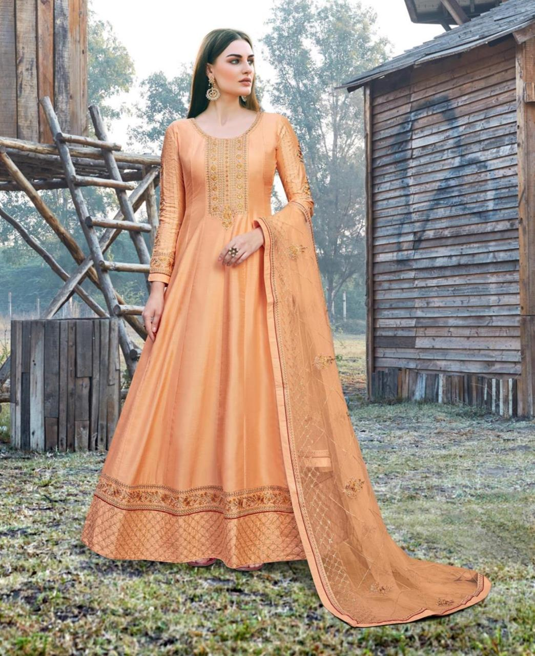 Embroidered Silk Abaya Style Salwar in Orange
