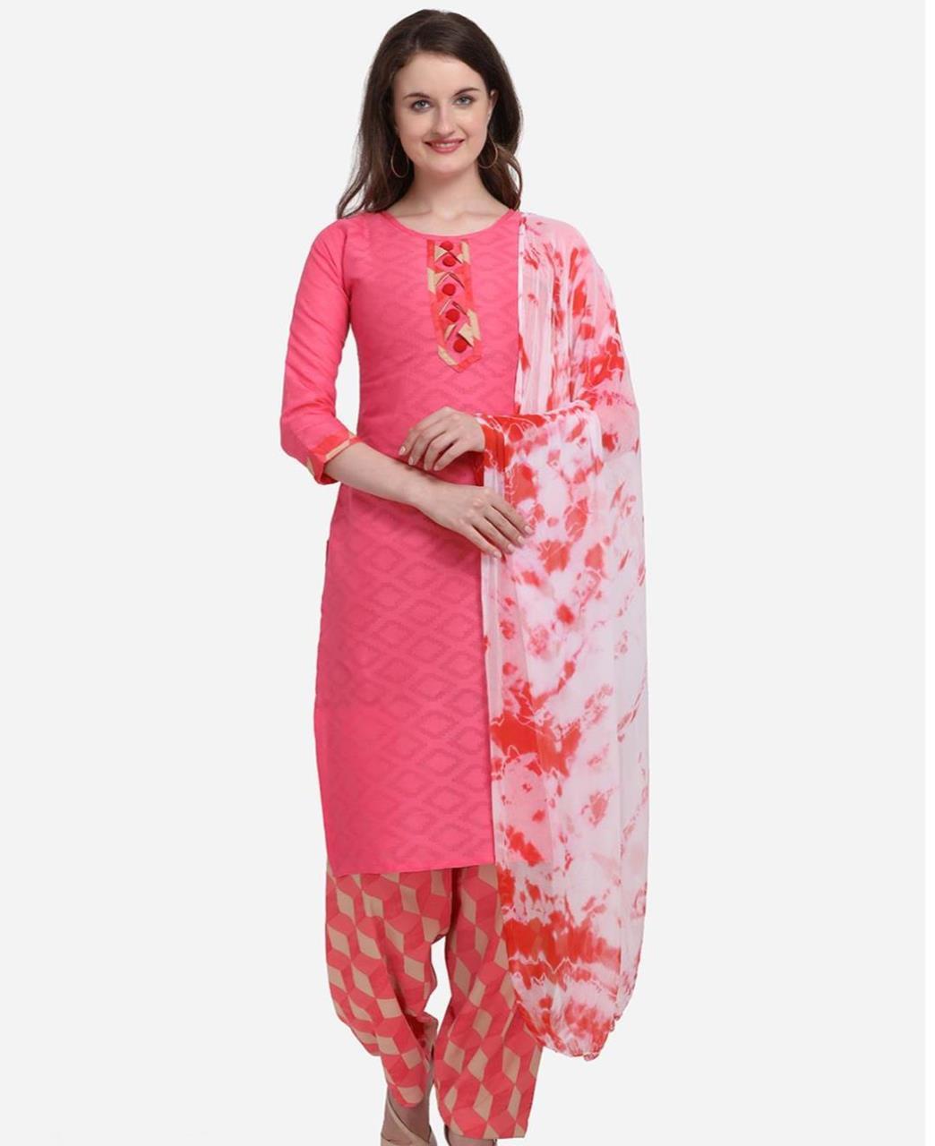 Zari Cotton Patiyala Suit Salwar in Pink