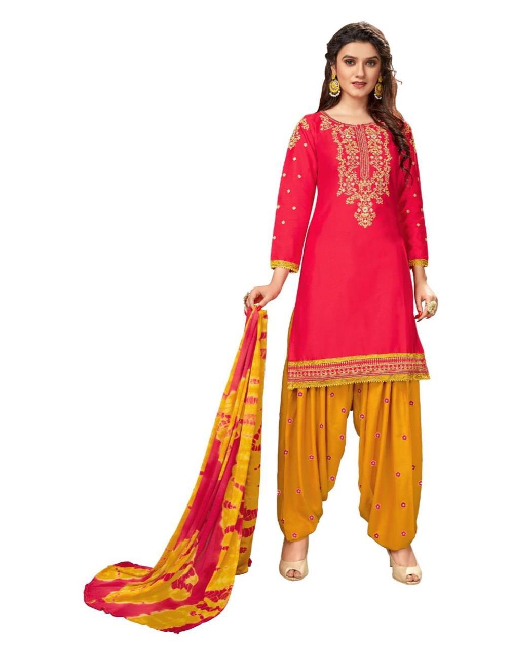 Stone Work Cotton Patiyala Suit Salwar in Red