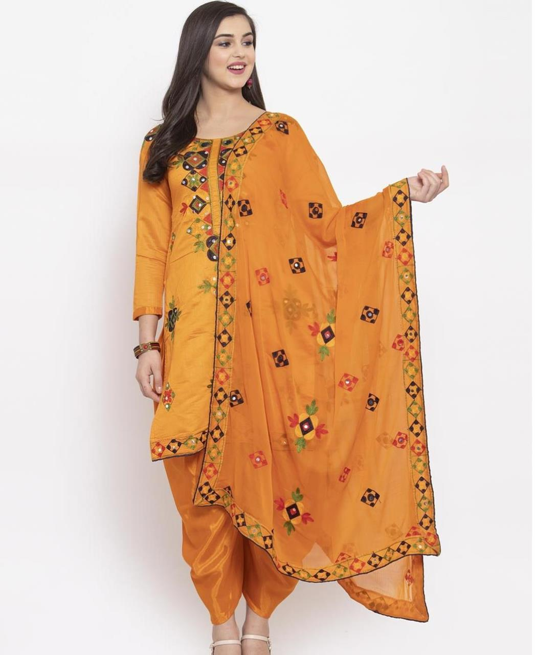 HandWorked Silk Patiyala Suit Salwar in Orange