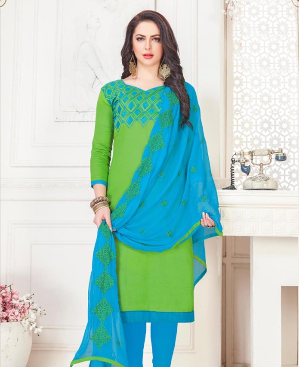 Embroidered Cotton Satin Green Straight Cut Salwar Kameez