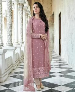 Cotton Straight cut Salwar Kameez in Light Pink