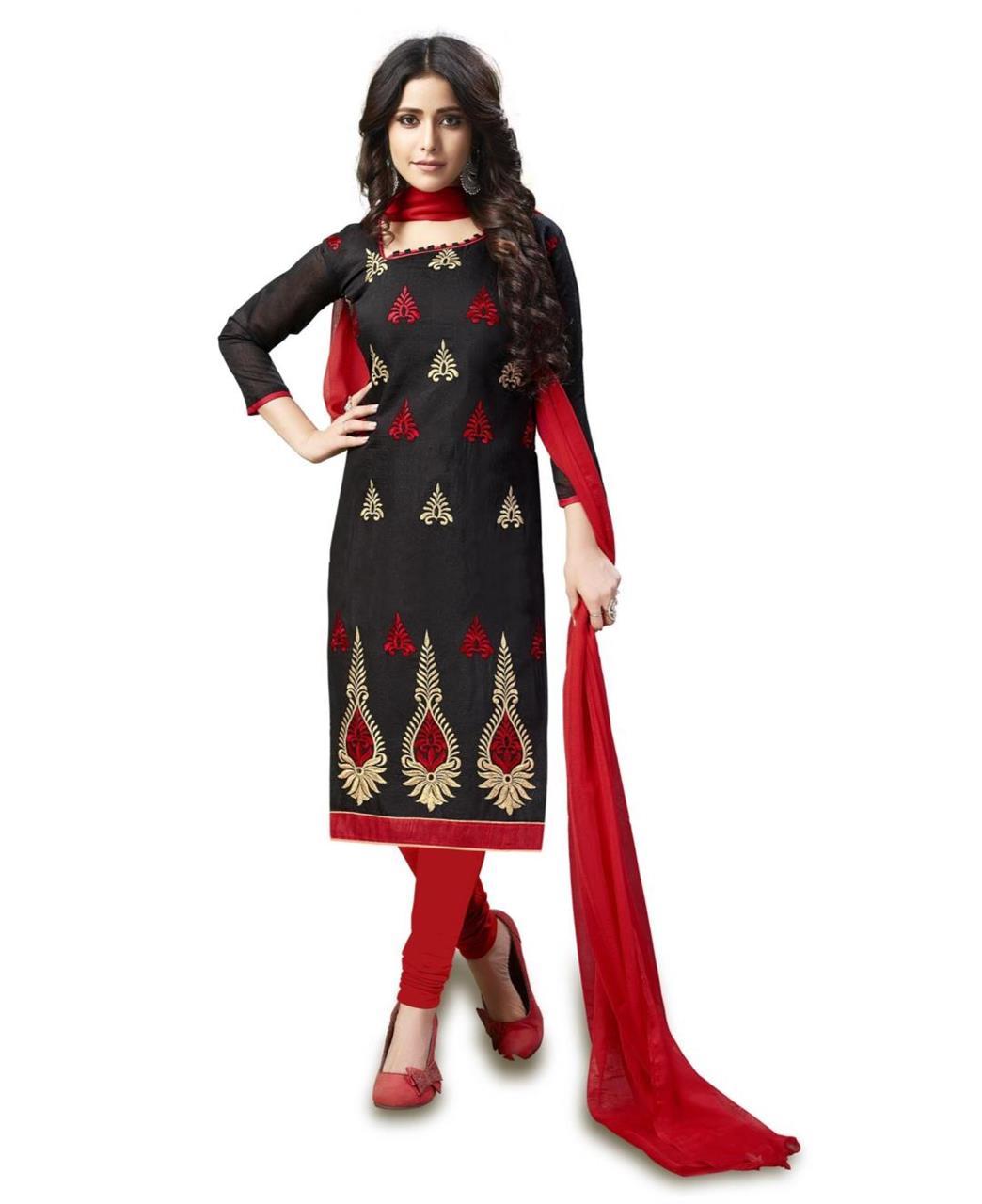 Embroidered Chanderi Black Straight Cut Salwar