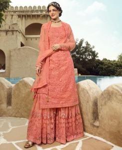 Thread Net Abaya Style Salwar in Peach
