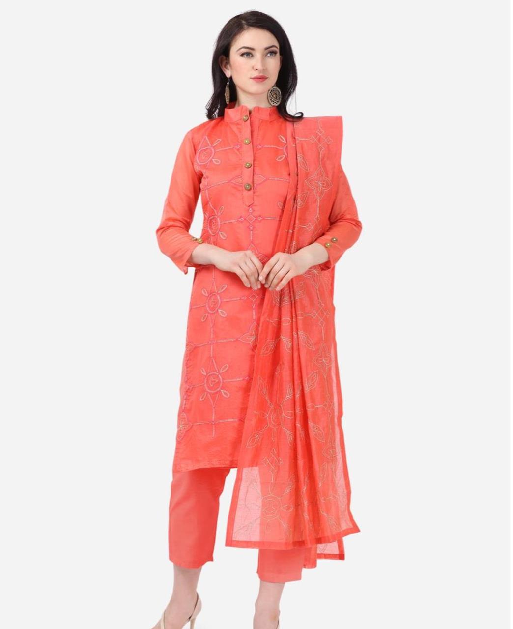 HandWorked Cotton Straight cut Salwar Kameez in Coral Pink