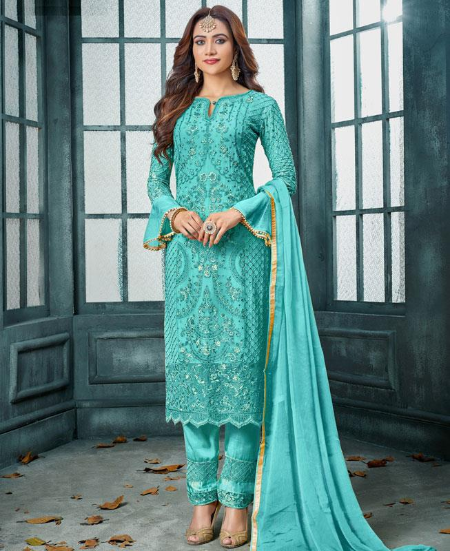 Embroidered Georgette SKYBLUE Straight Cut Salwar