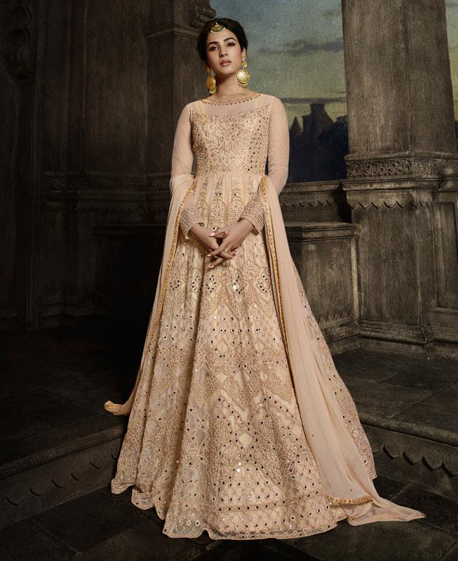Net Abaya Style Salwar in Begie
