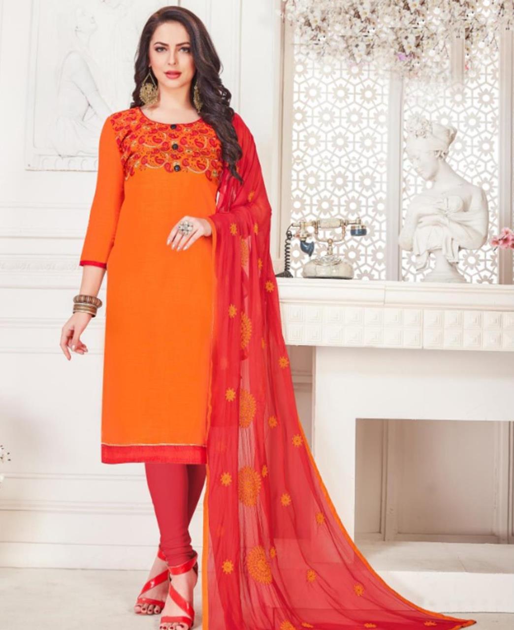 Embroidered Cotton Orange Straight Cut Salwar Kameez