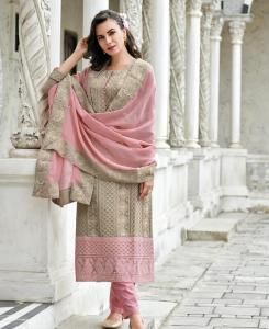 Cotton Straight cut Salwar Kameez in Light Brown
