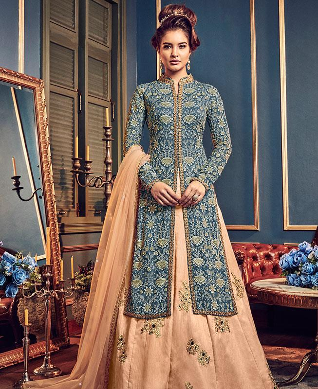 Embroidered Georgette Blue Abaya Style Salwar Kameez