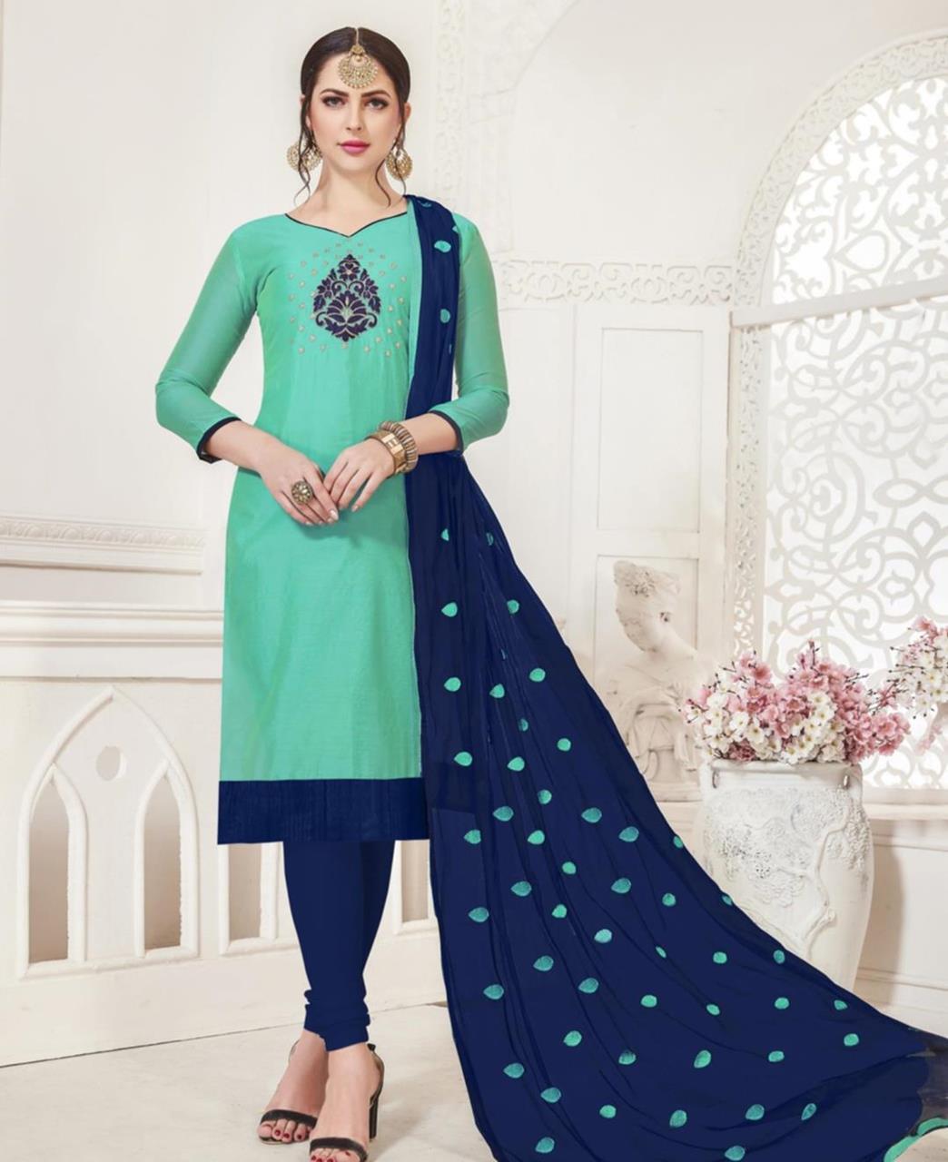 Embroidered Silk Aqua Straight Cut Salwar