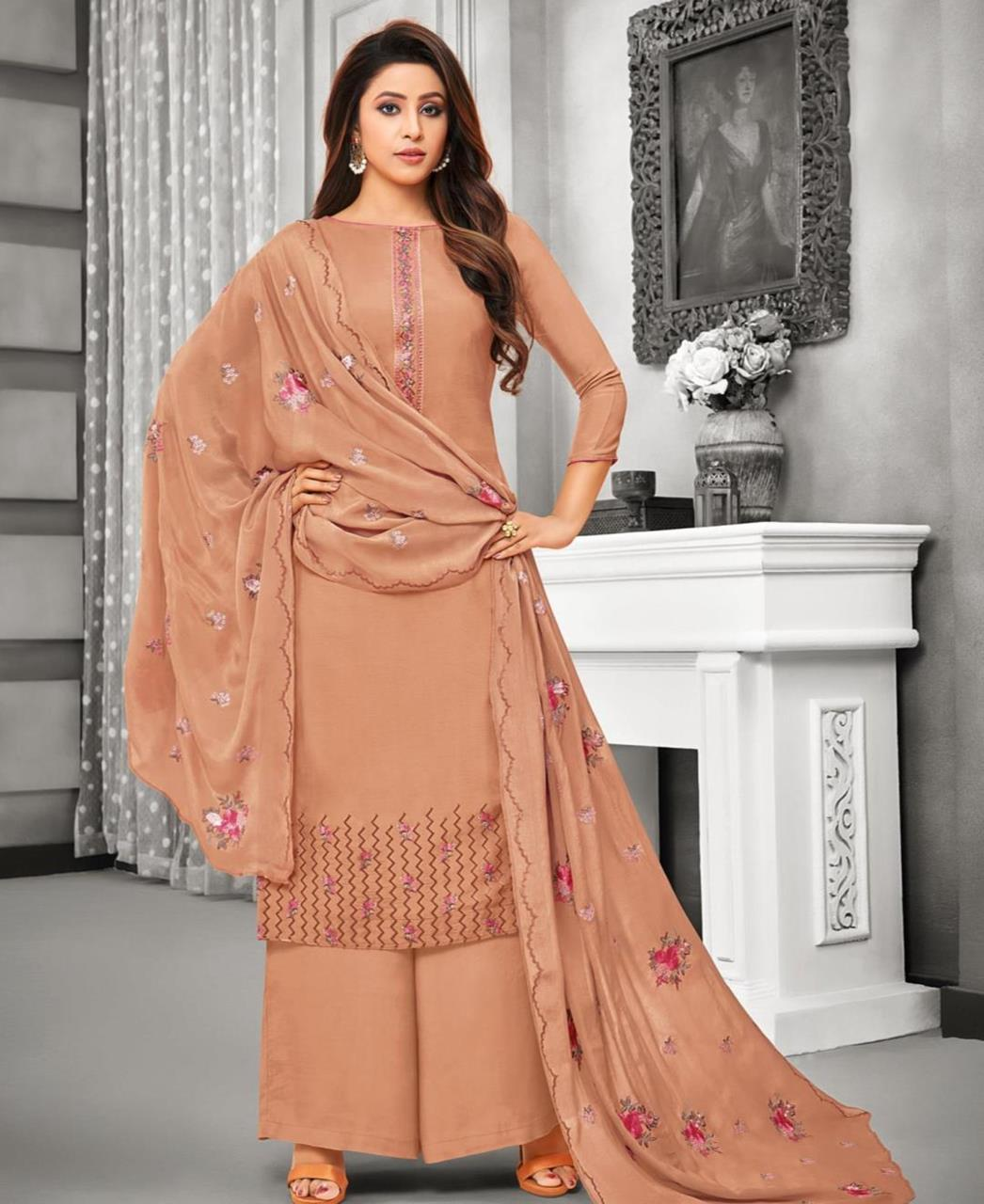 Embroidered Satin Ivory Palazzo Suit Salwar