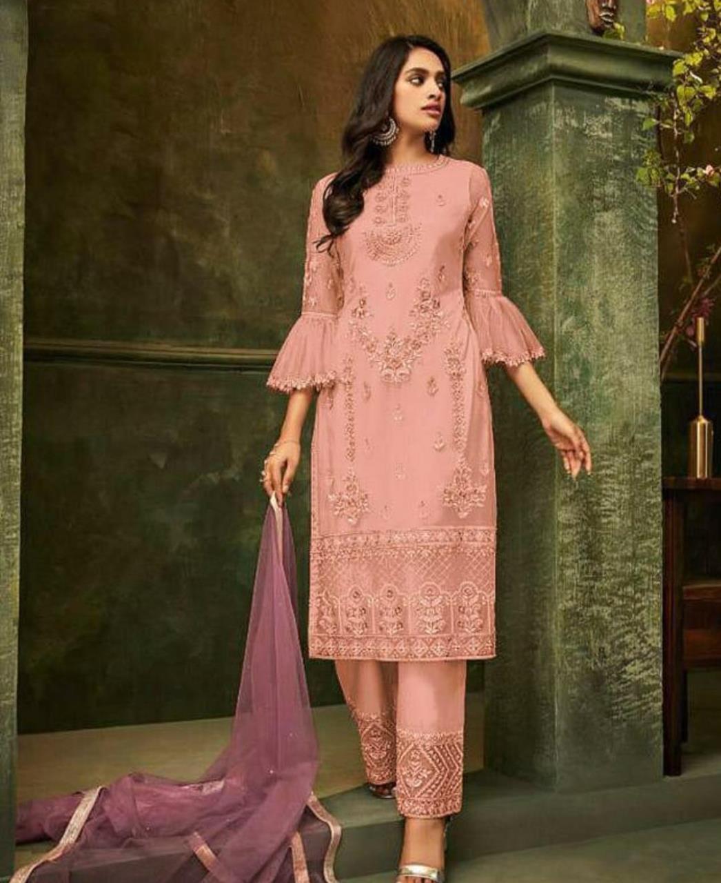 Embroidered Silk Straight cut Salwar Kameez in Pink