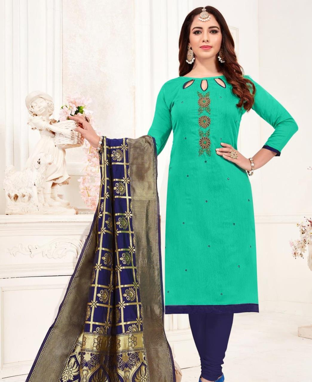 Embroidered Cotton SEAGREEN Straight Cut Salwar