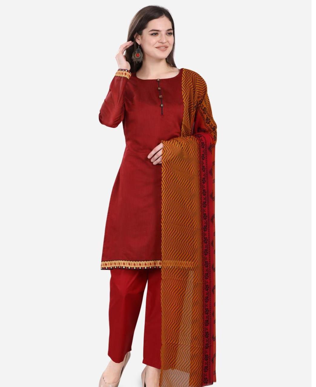 HandWorked Cotton Straight cut Salwar Kameez in Maroon