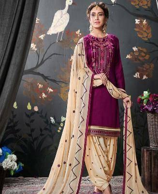 Embroidered Silk Purple Patiyala Suit Salwar