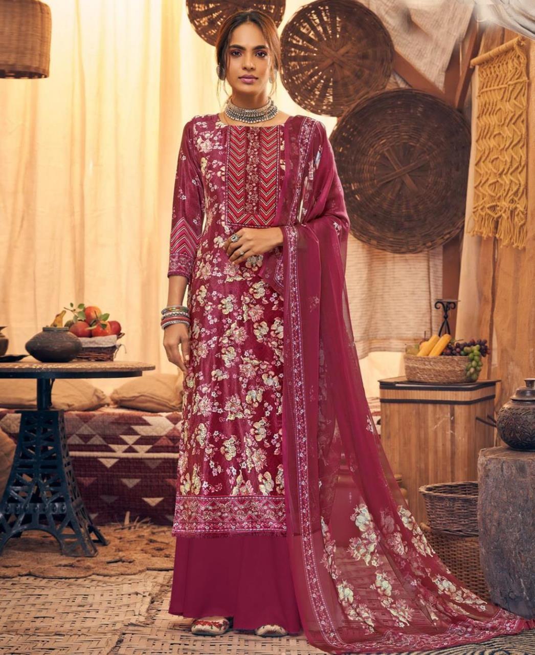 Printed Velvet Straight cut Salwar Kameez in Maroon