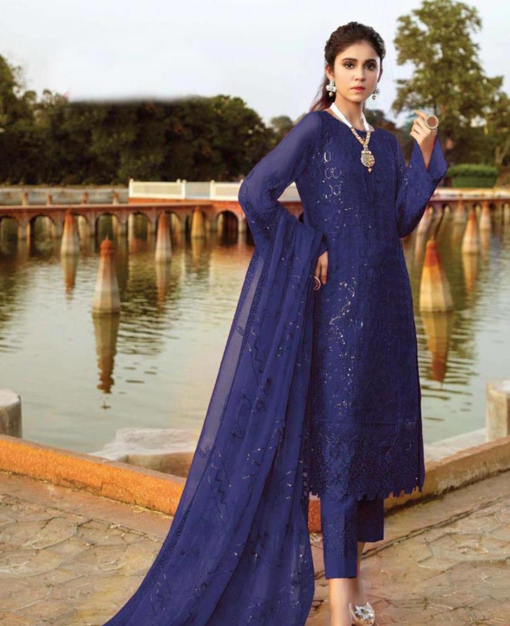 Embroidered Georgette Straight cut Salwar Kameez in Blue