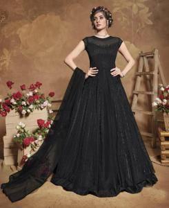 Thread Silk Abaya Style Salwar in Black