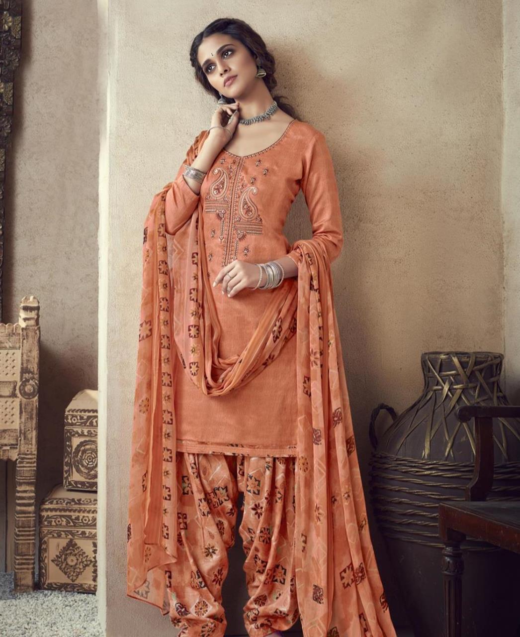 Thread Cotton Patiyala Suit Salwar in Orange