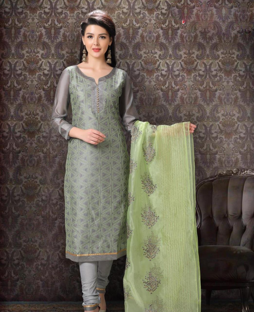 Embroidered Chanderi Silk Gray Straight Cut Salwar