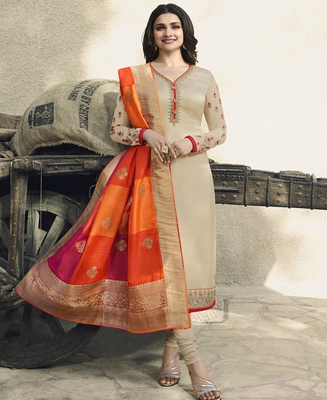 Embroidered Georgette Beige Straight cut Salwar