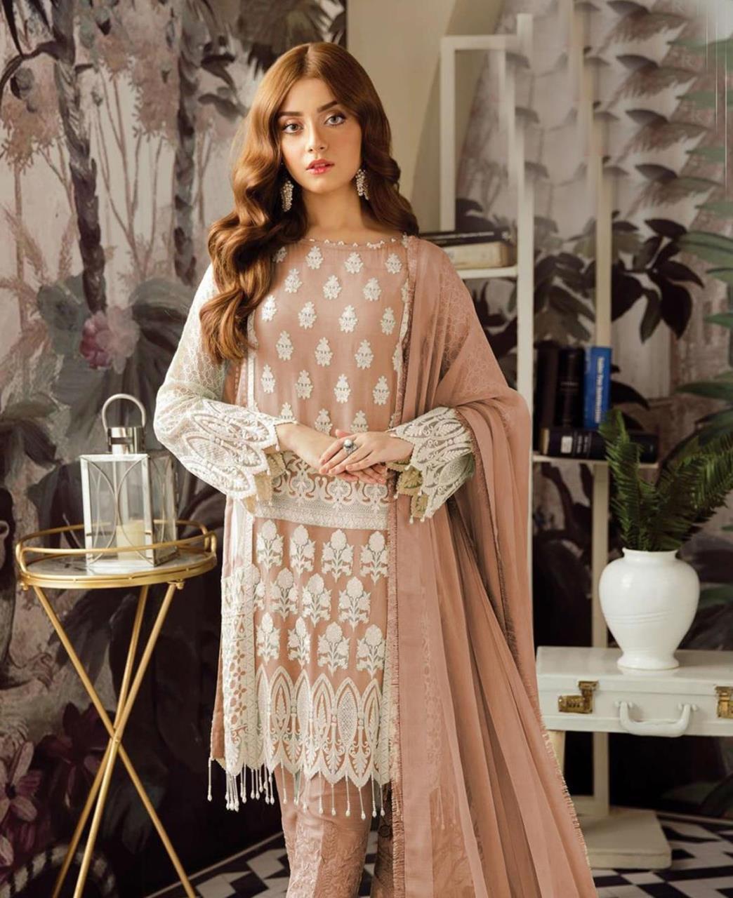 Embroidered Georgette Straight cut Salwar Kameez in Light Brown