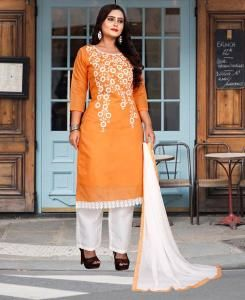 HandWorked Cotton Straight cut Salwar Kameez in Orange