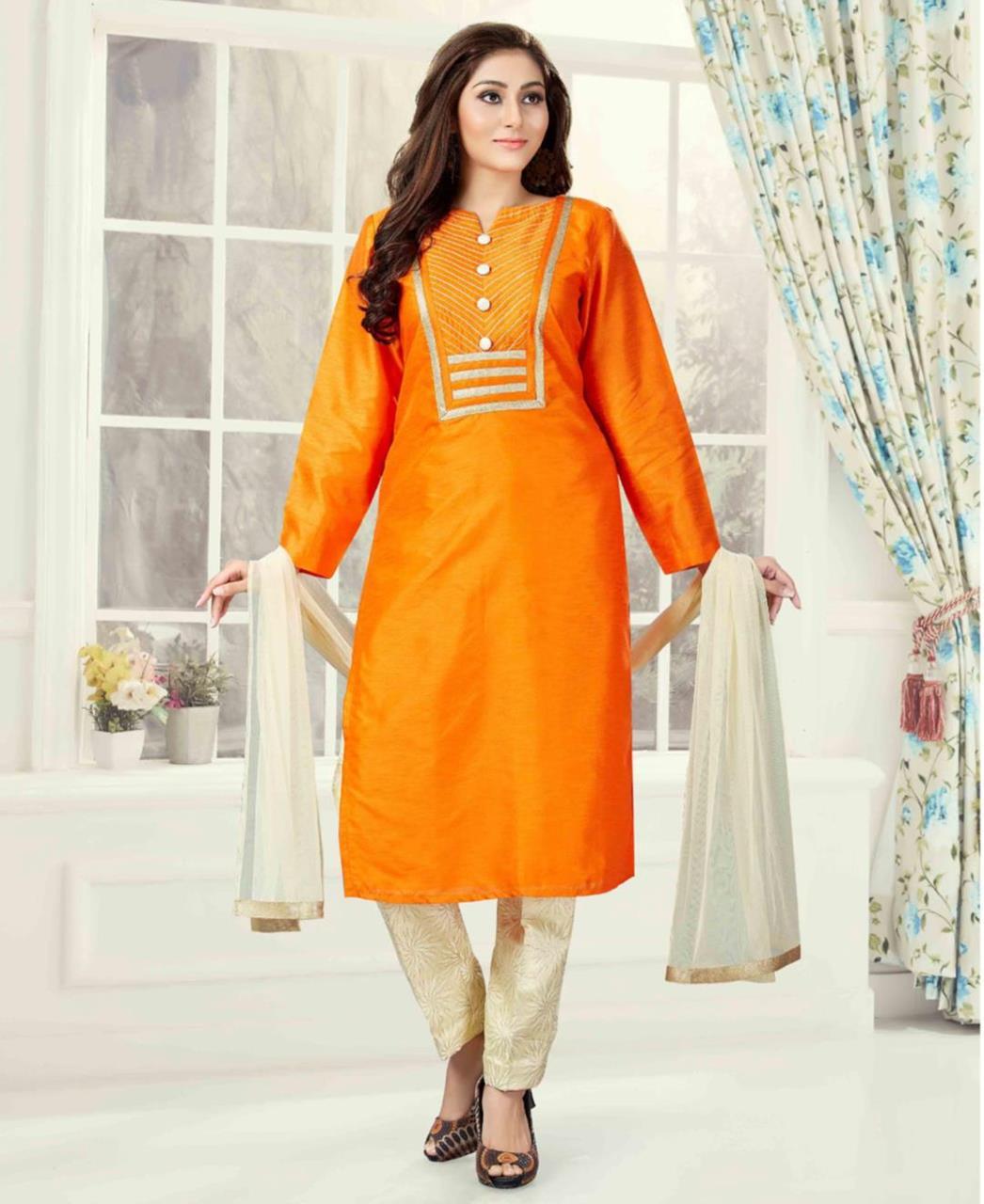 Plain Art Silk Orange Straight Cut Salwar