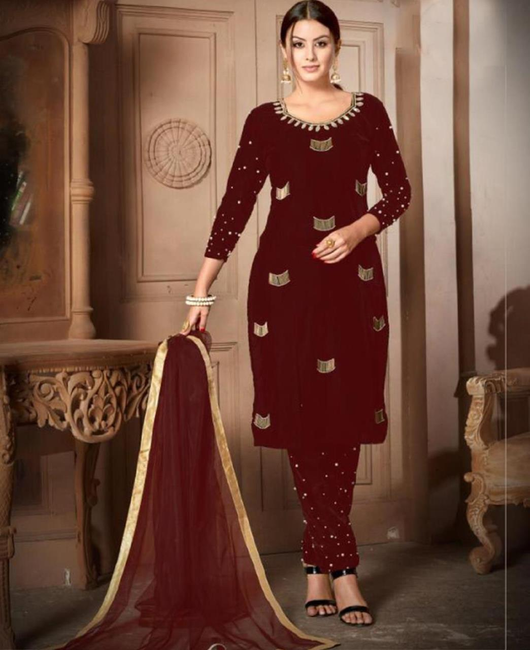 HandWorked Velvet Maroon Straight Cut Salwar