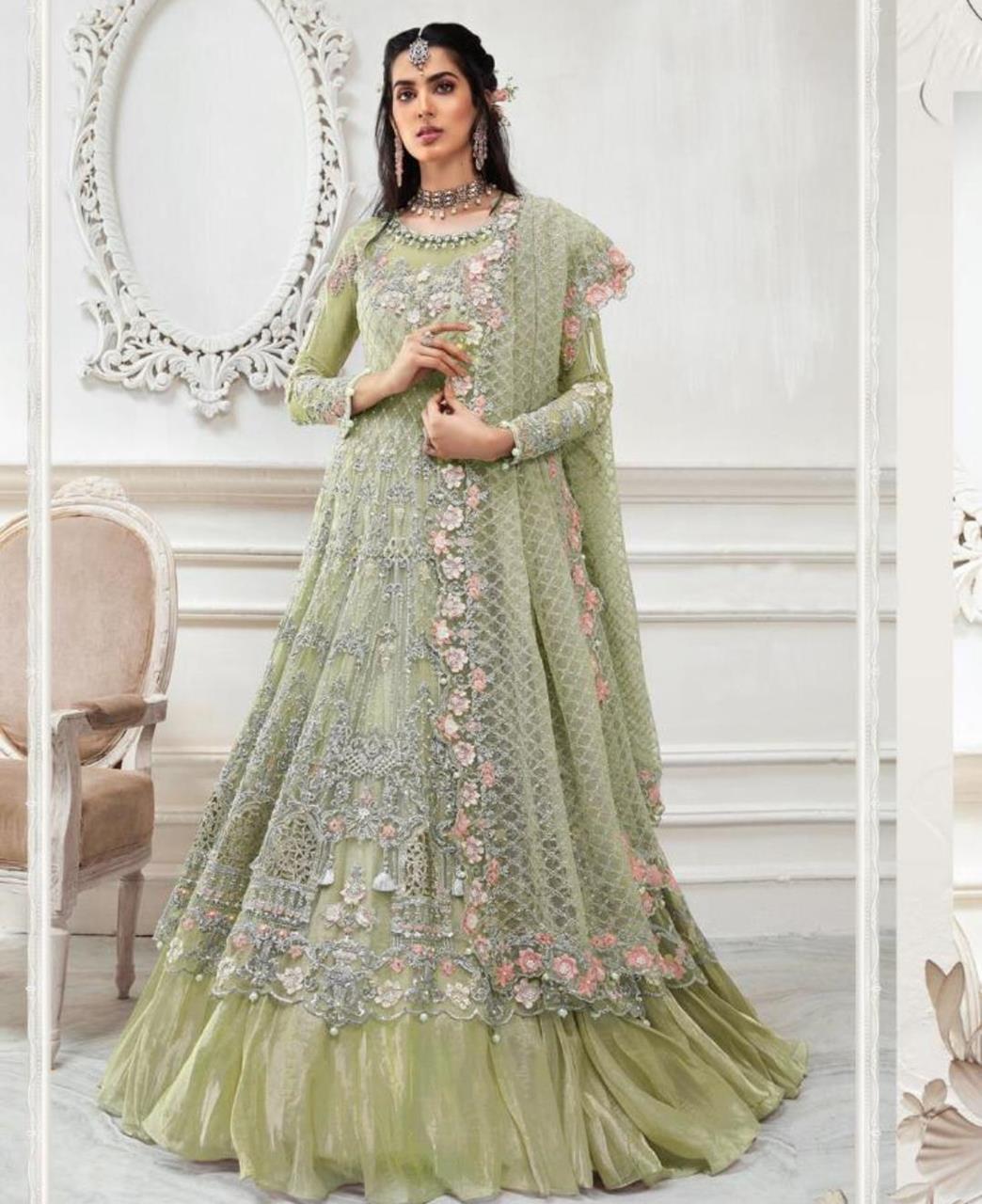 HandWorked Net Abaya Style Salwar in Light Green