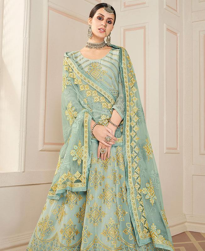 Embroidered Faux Georgette SEAGREEN Anarkali Salwar