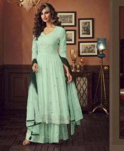 HandWorked Georgette Abaya Style Salwar in Aqua Green
