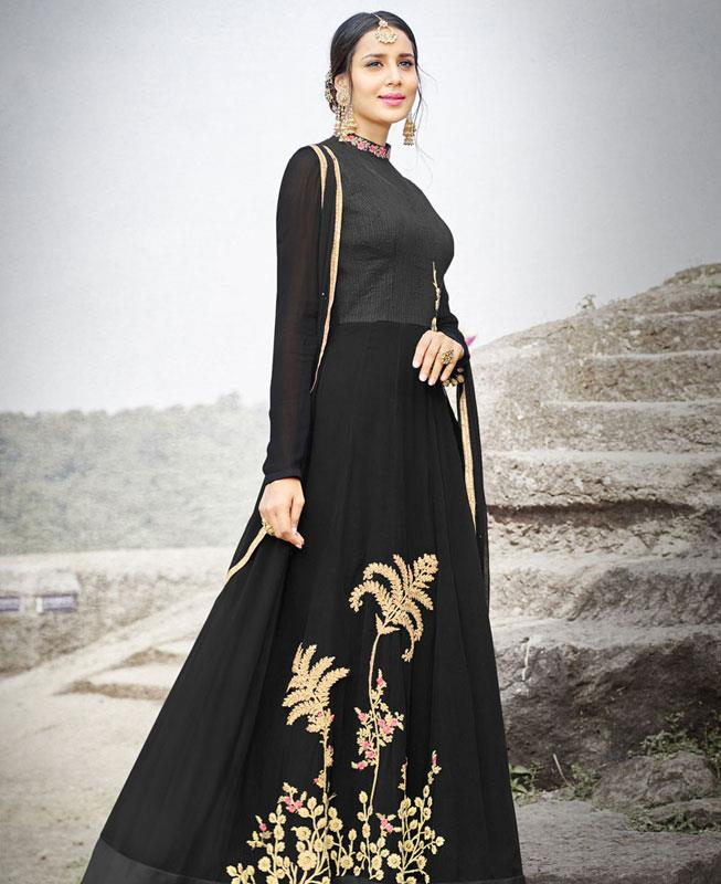 Embroidered Silk Black Abaya Style Salwar