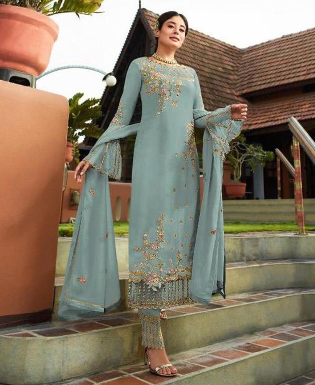 Georgette Straight cut Salwar Kameez in Sky Grey
