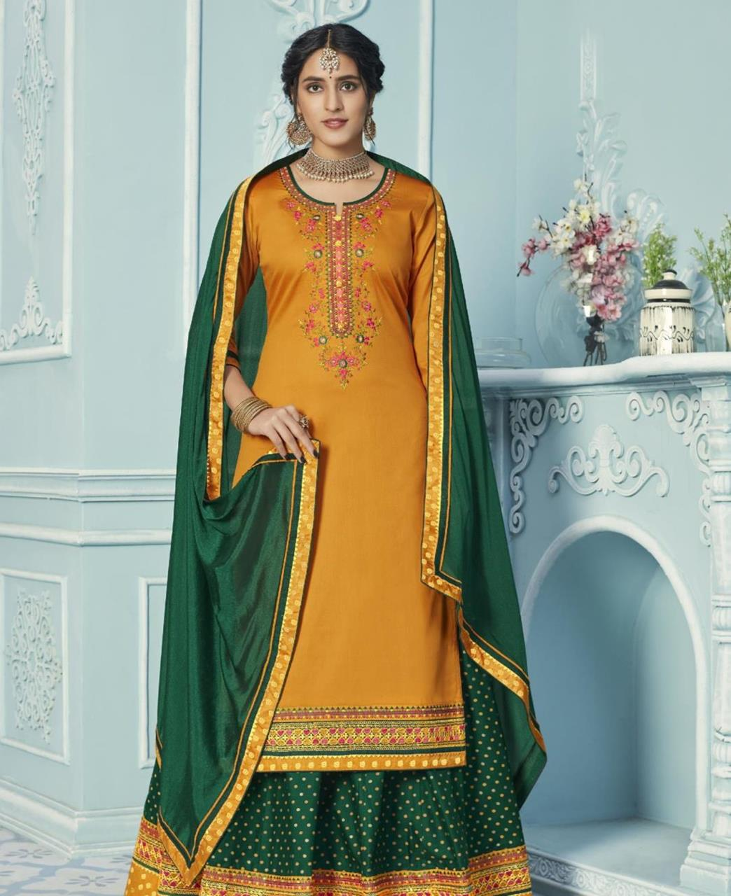 Embroidered Cotton Straight cut Salwar Kameez in Yellow