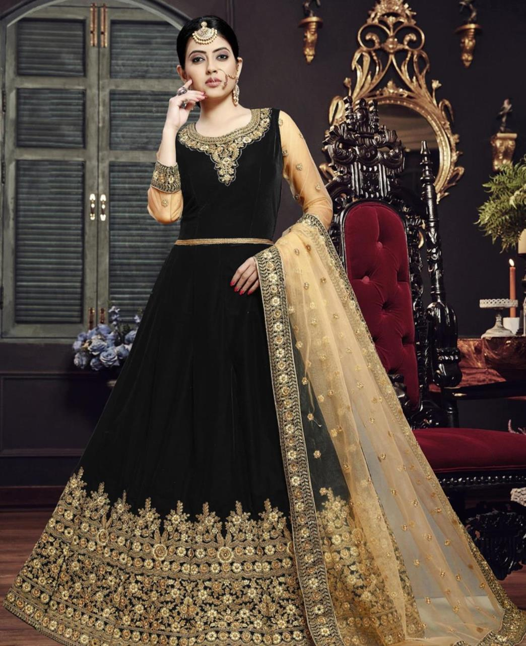 Embroidered Velvet Black Abaya Salwar