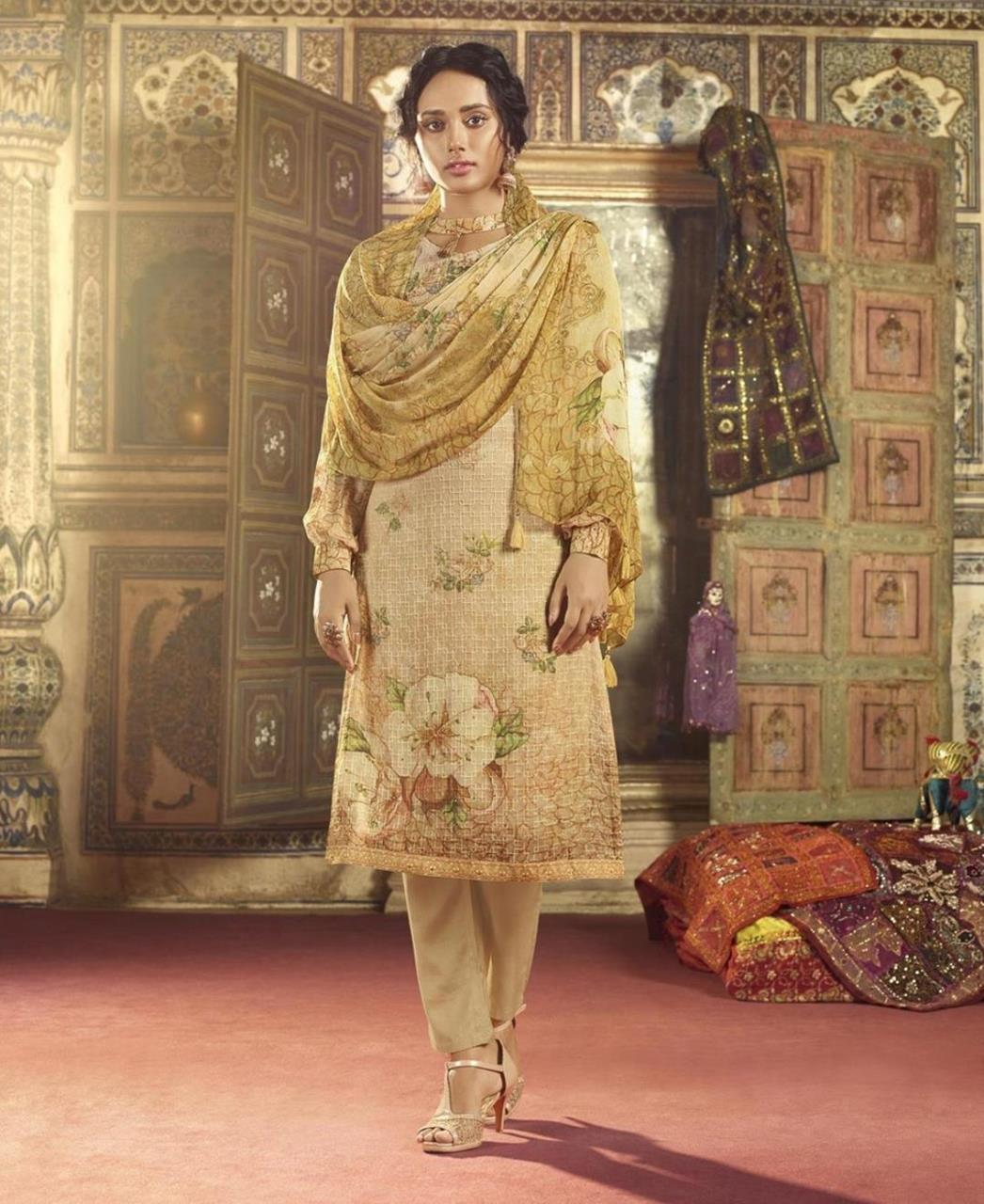 Stone Work Georgette Straight cut Salwar Kameez in Light Cream