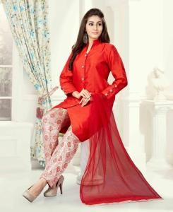 Plain Art Silk RED Palazzo Suit Salwar