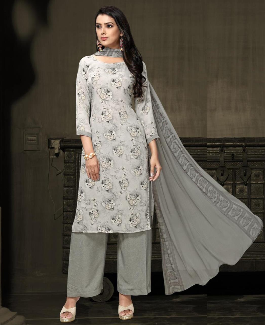 Printed Georgette Straight cut Salwar Kameez in Off White